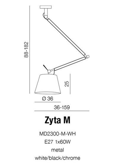 Zyta M MD2300-M BK Lampa Wisząca Azzardo czarna
